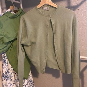 Sea foam green cashmere cardigan